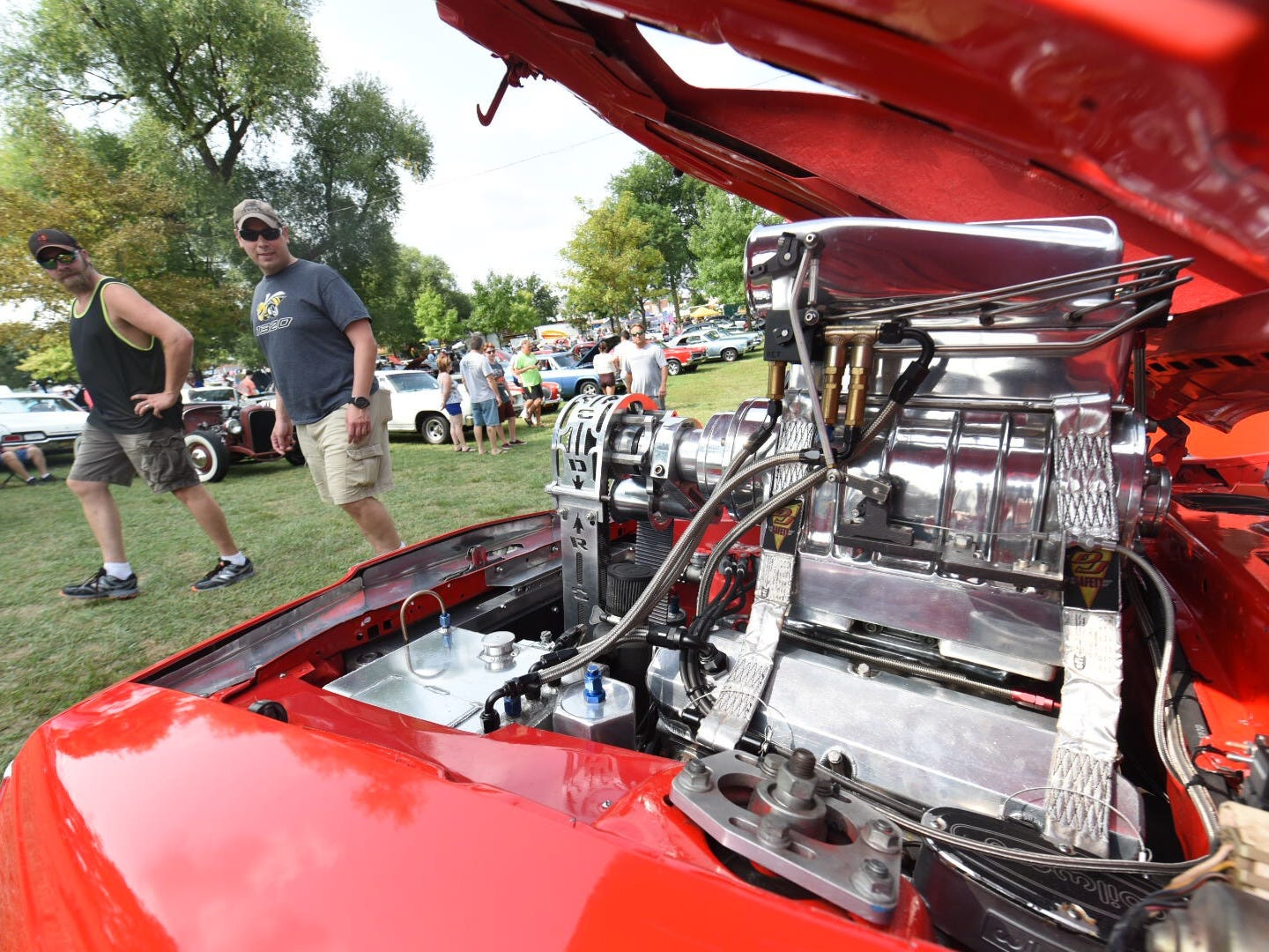 The chrome supercharger and blower is a crowd favorite on this Ford Thunderbird race car.