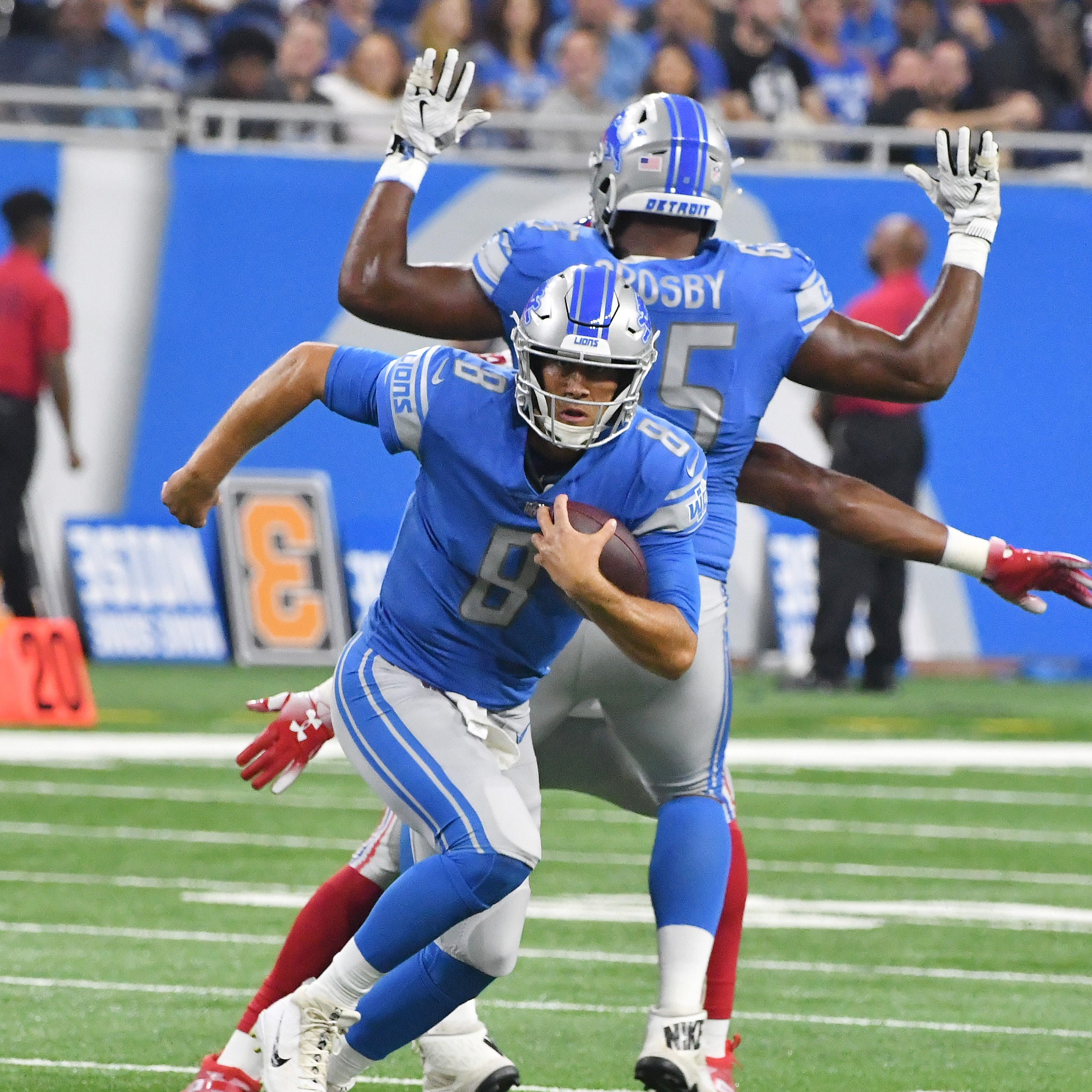 Lions quarterback Matt Cassel scrambles out of the pocket for a gain in the third quarter during Friday's preseason game against the New York Giants.