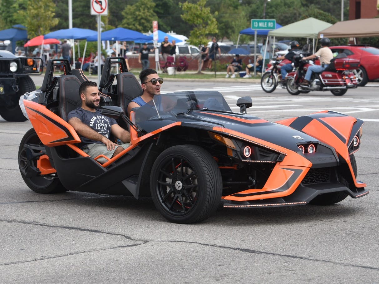 A Polaris Slingshot makes a statement cruising along Woodward Avenue in Royal Oak.