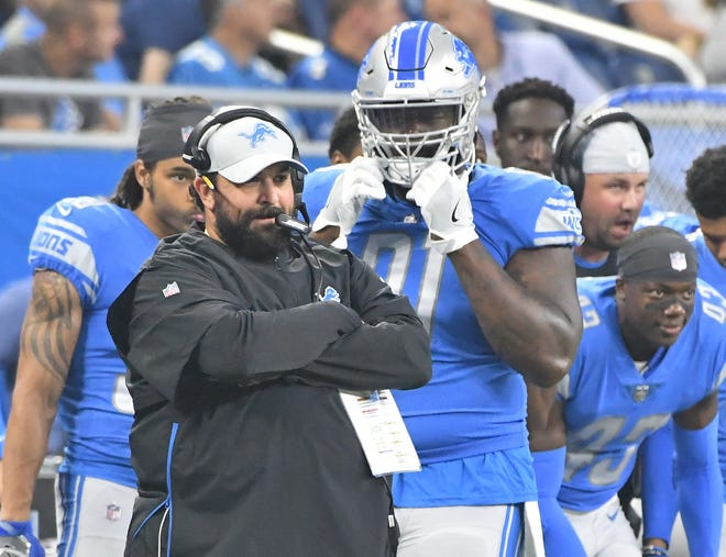 Lions coach Matt Patricia watches his team from the sideline in the first quarter during Friday's preseason game against the New York Giants.
