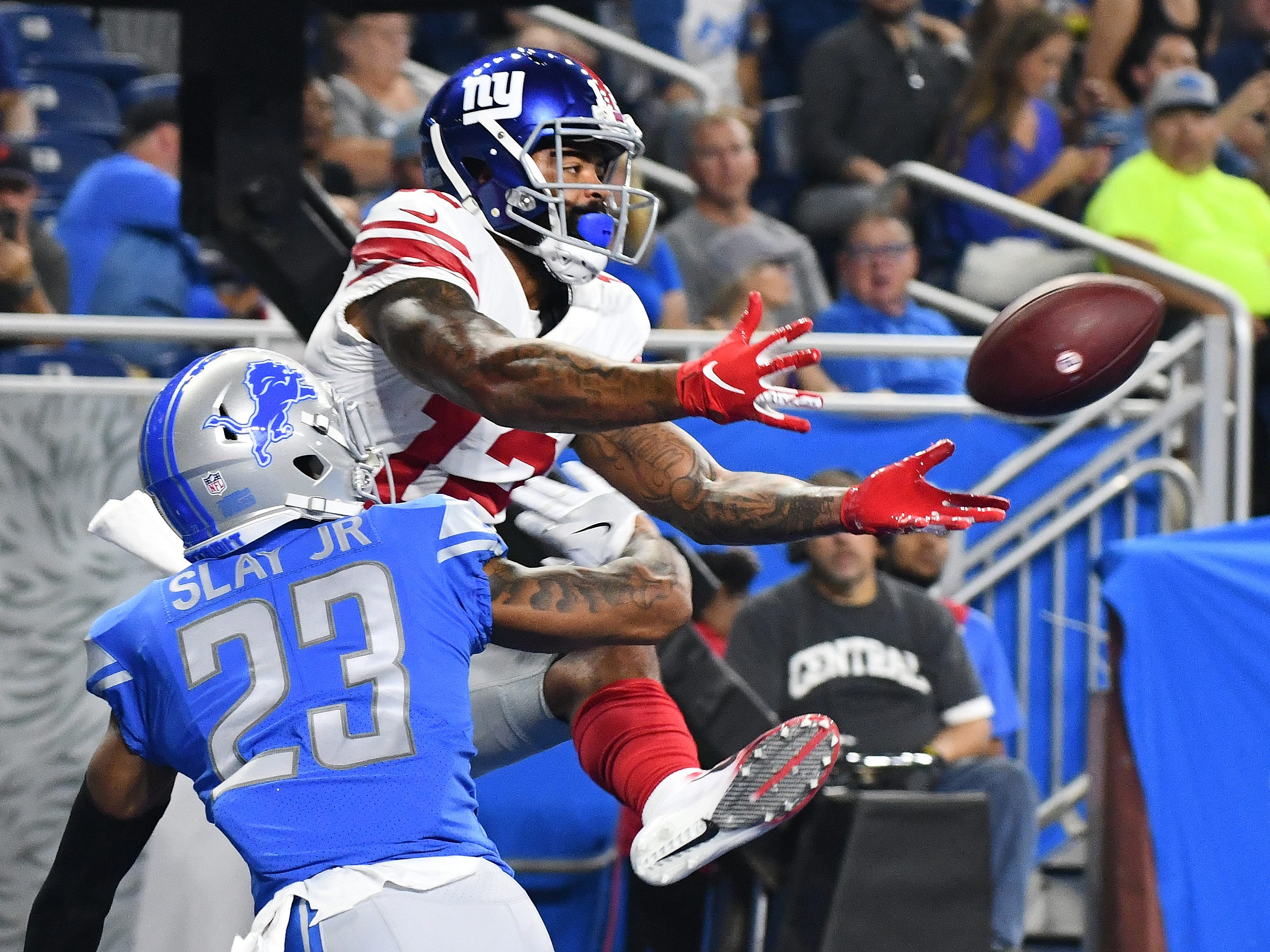 Lions' Darius Slay gets called for a interference penalty in the end zone on this pass intended for Giants' Cody Latimer in the second quarter.