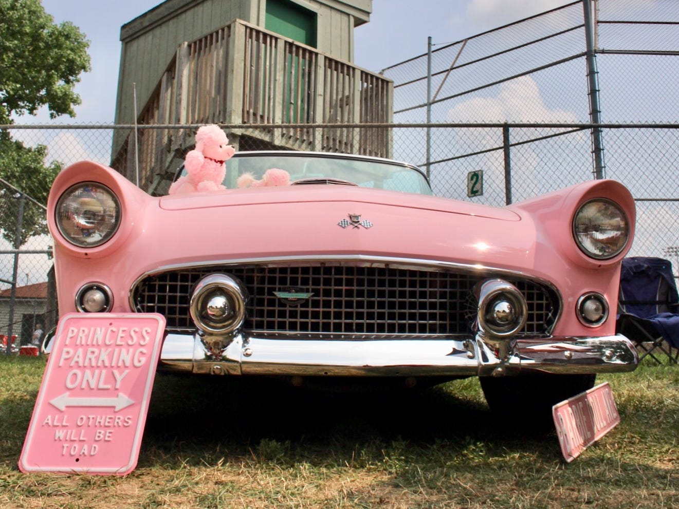"""Pat Wiegand of Macomb Twp. owns a pink 1955 Ford Thunderbird which she refers to as """"the Barbie car."""" """"It's a color that was in my poodle skirt."""""""