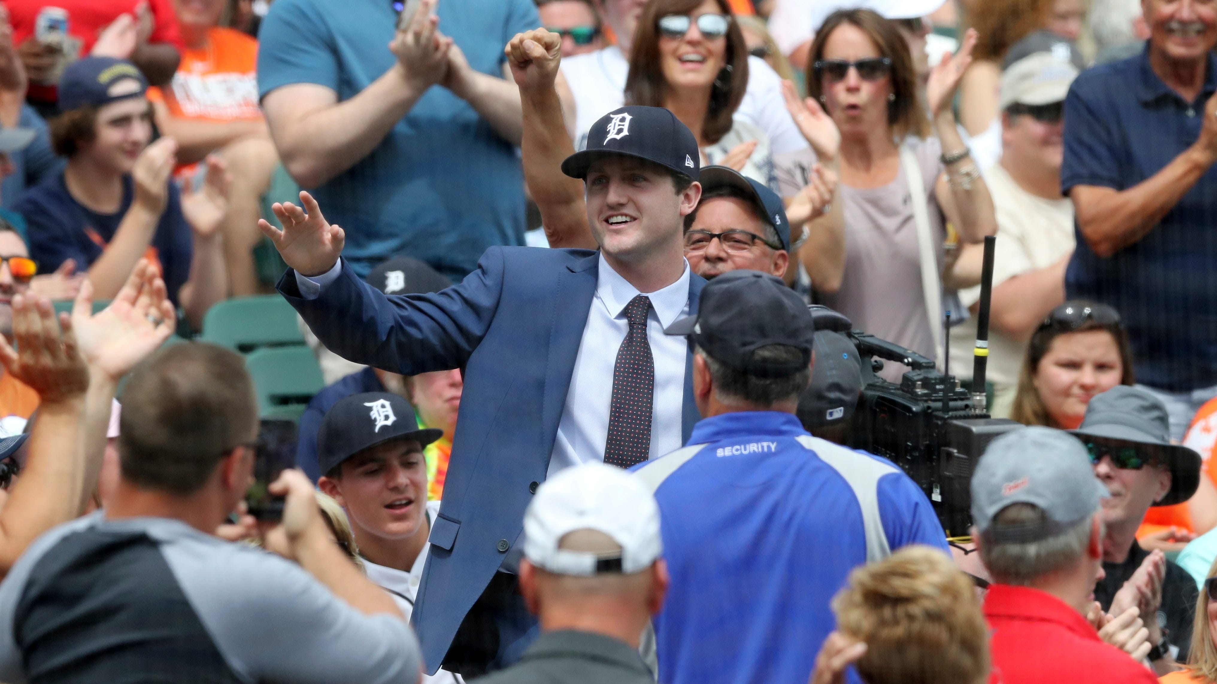 Detroit Tigers first overall pick Casey Mize is introduced to the crowd during the third inning of a baseball game between the Detroit Tigers and the Oakland Athletics, on June 25 in Detroit.