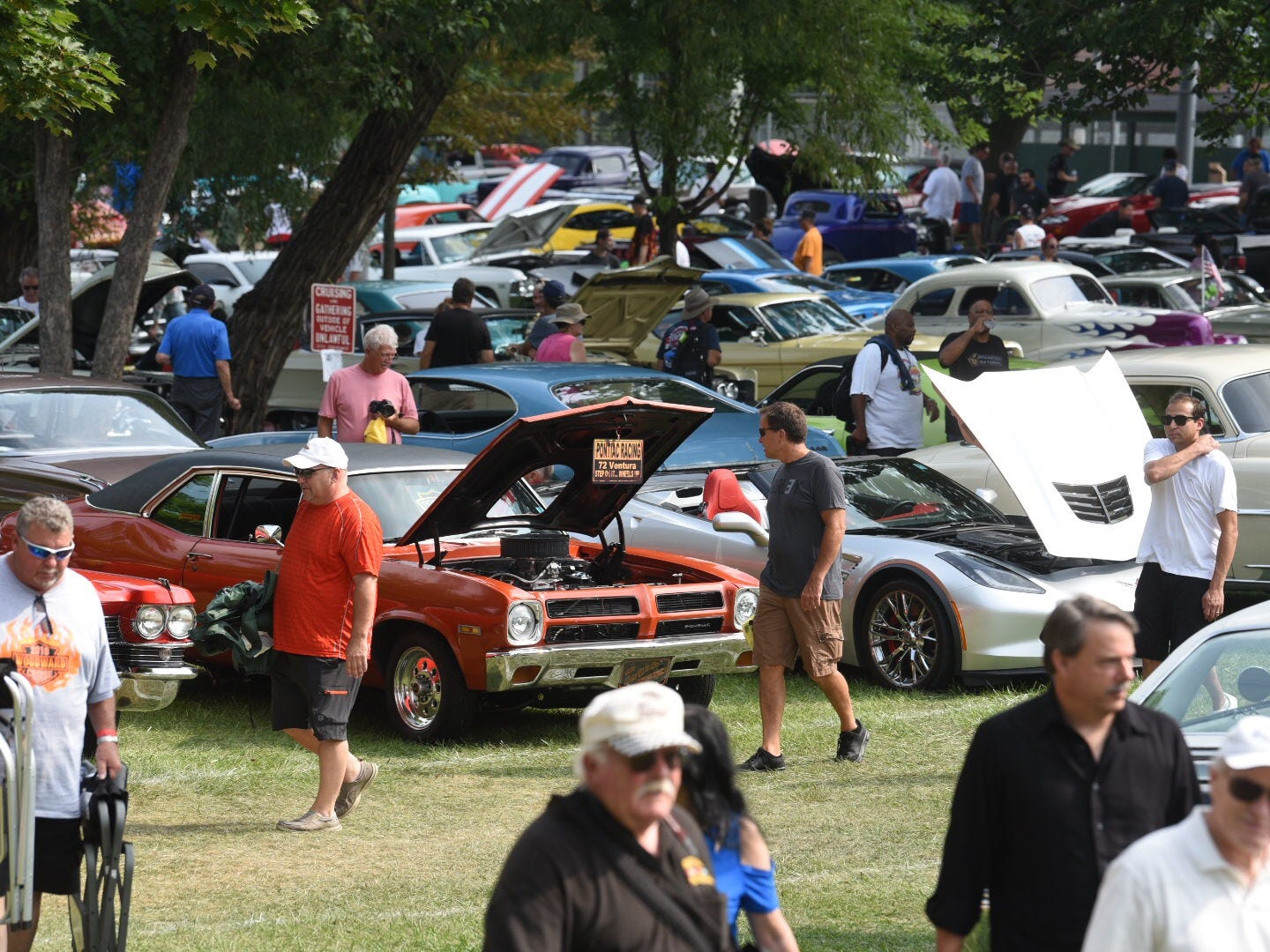 Classic and muscle cars are on full display at Memorial Park in Royal Oak for the Woodward Dream Cruise.