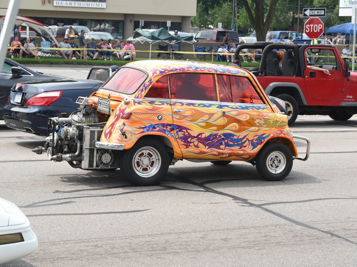 This custom BMW roars down Woodward Avenue in Royal Oak Saturday afternoon.