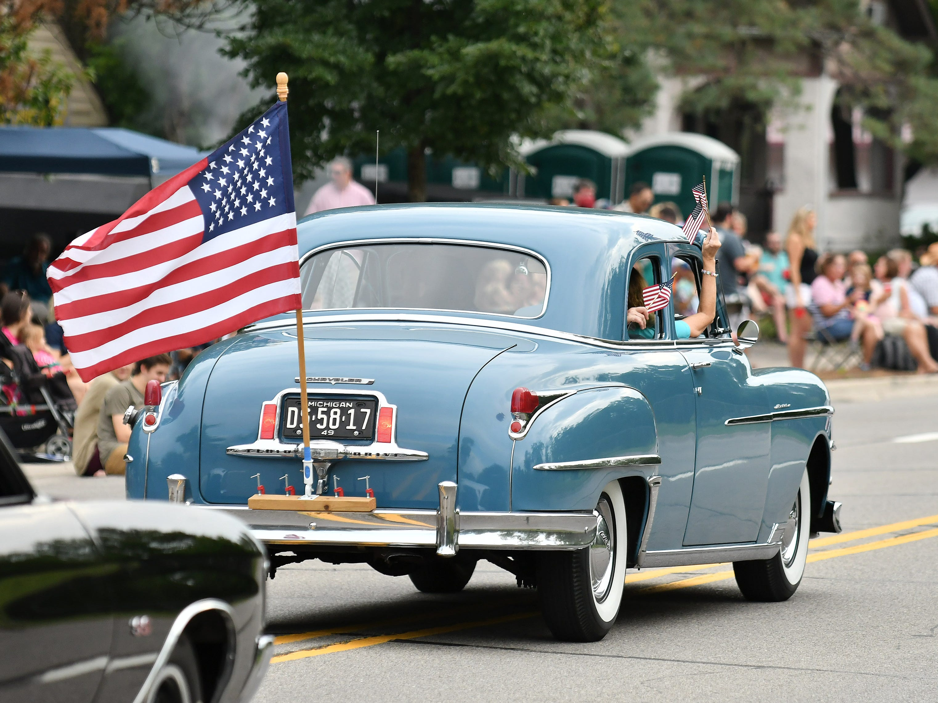 A 1949 Chrysler rolls in the Berkley CruiseFest Classic Car Parade.