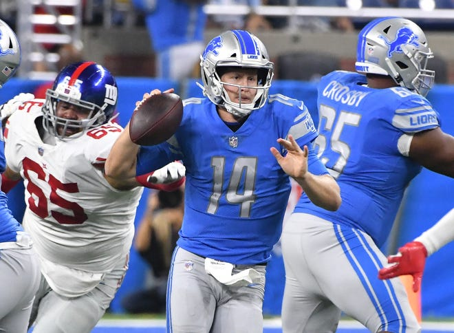 Lions quarterback Jake Rudock accounted for both of Detroit's touchdowns in Friday's 30-17 preseason loss to the Giants.