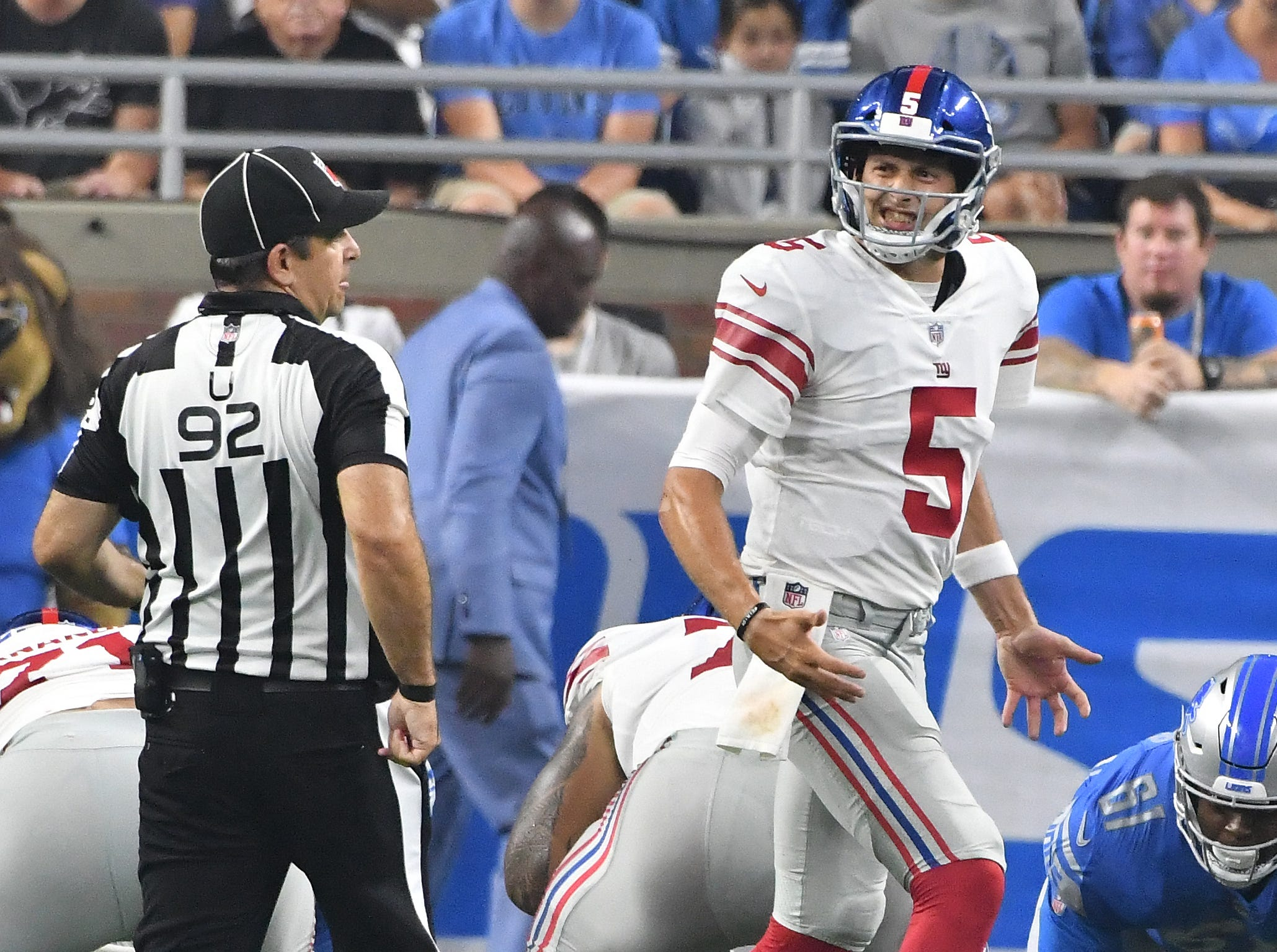 Giants quarterback Davis Webb tries to get a quick snap off, but the official holds him up in the second quarter.