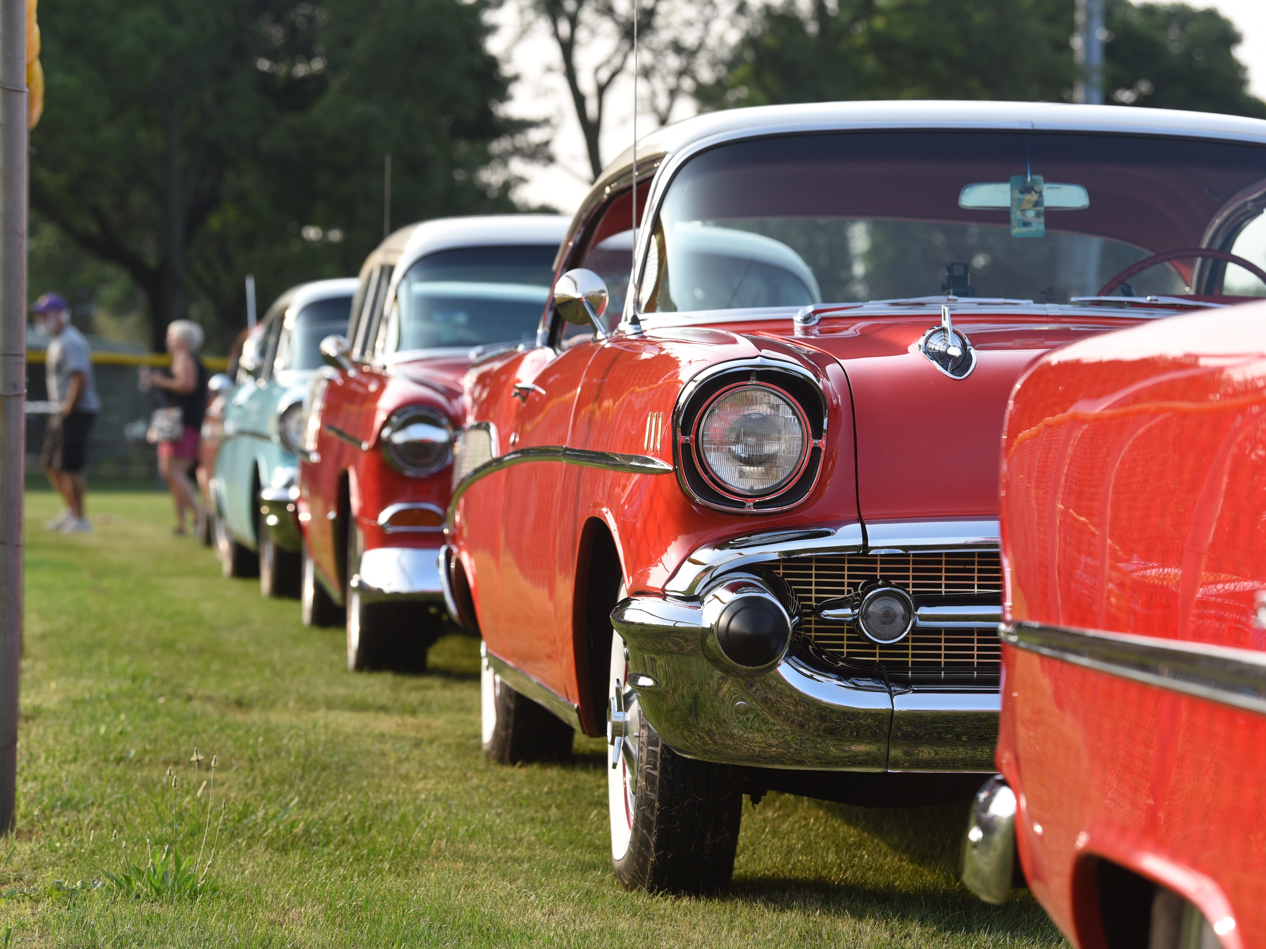Classic Chevy Bel-Airs glimmer in the morning sunny for the start of the Woodward Dream Cruise.