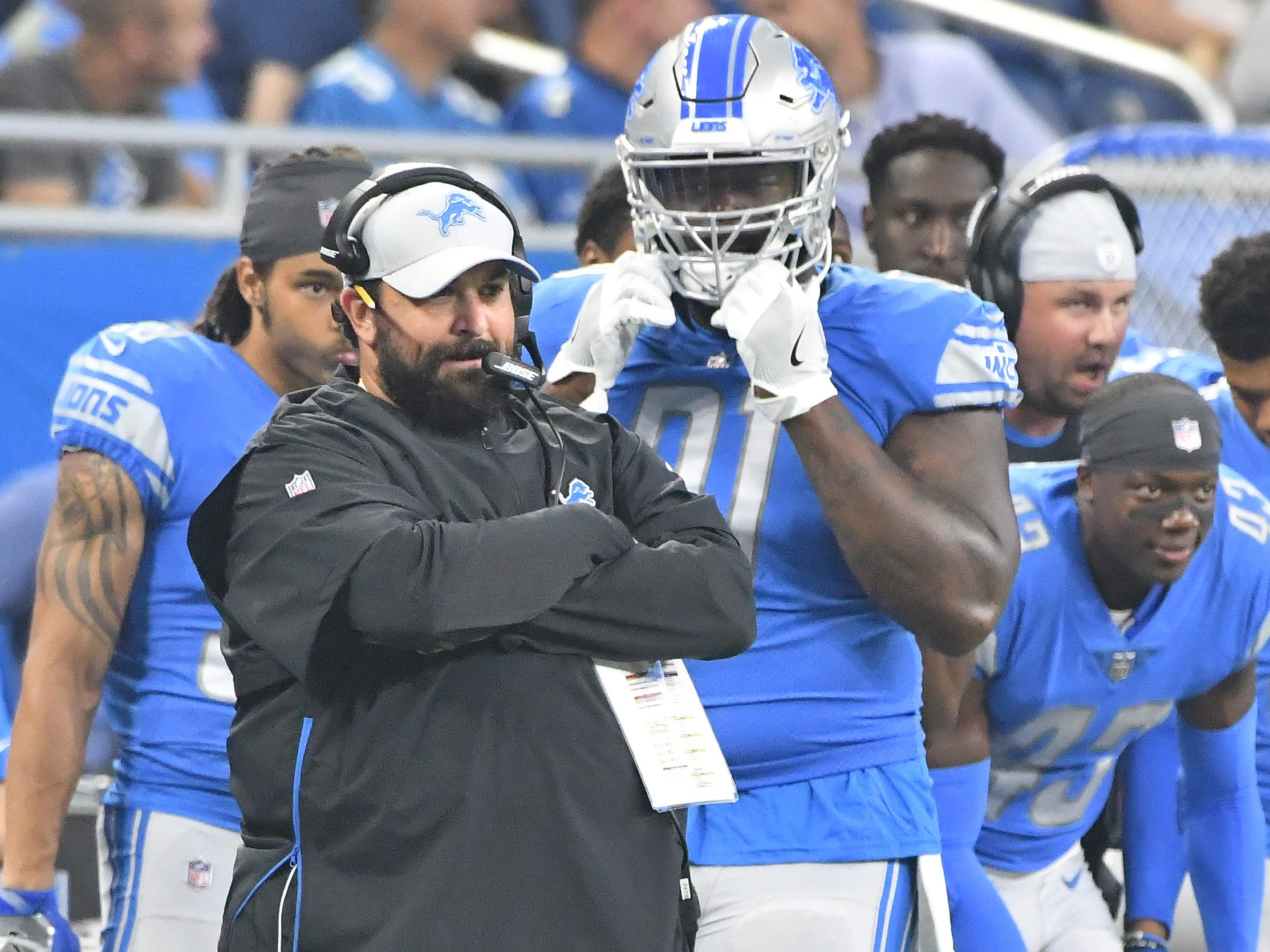 Lions head coach Matt Patricia watches his team from the sideline in the first quarter.