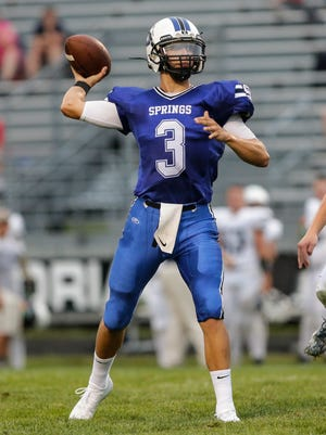 St. Mary's Springs' Mitch Waechter throws a 20-yard touchdown to Cade Christensen against Markesan on Aug. 17. Waechter threw for three touchdowns and picked up a pair of interceptions on defense to lead Springs past Cedar Grove-Belgium.