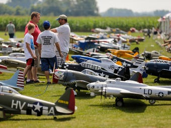 The Fond du Lac Aeromodelers Club held its 12th annual fly in where over 100 large model planes are flown six at a time.