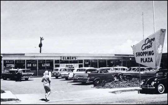Cape Coral's first shopping plaza in the 1960s included Elmer's grocery store.