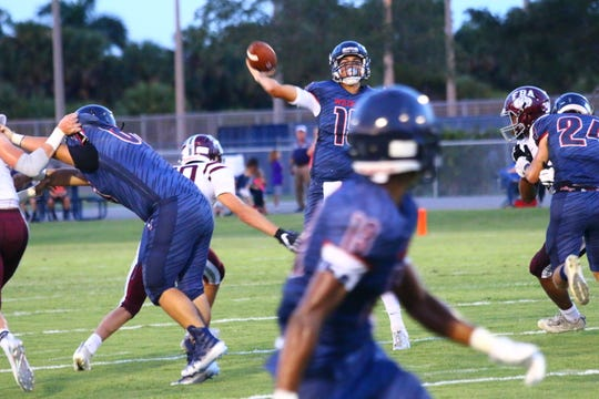 Action from First Baptist at Estero in a high school football preseason classic on Friday, Aug. 17, 2018.