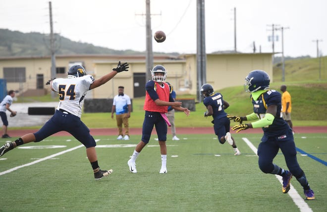 The Guam High School Panthers scrimmage each other at their home football field on Aug. 18, 2018. The PDN will run team previews in the days leading up to the season-opening Aug. 24 kickoff, in the newspaper and online.
