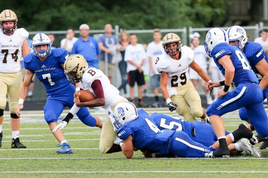during the first half of  Brebeuf Jesuit vs. Bishop Chatard high school football held at Bishop Chatard High School, Friday, August 17, 2018.