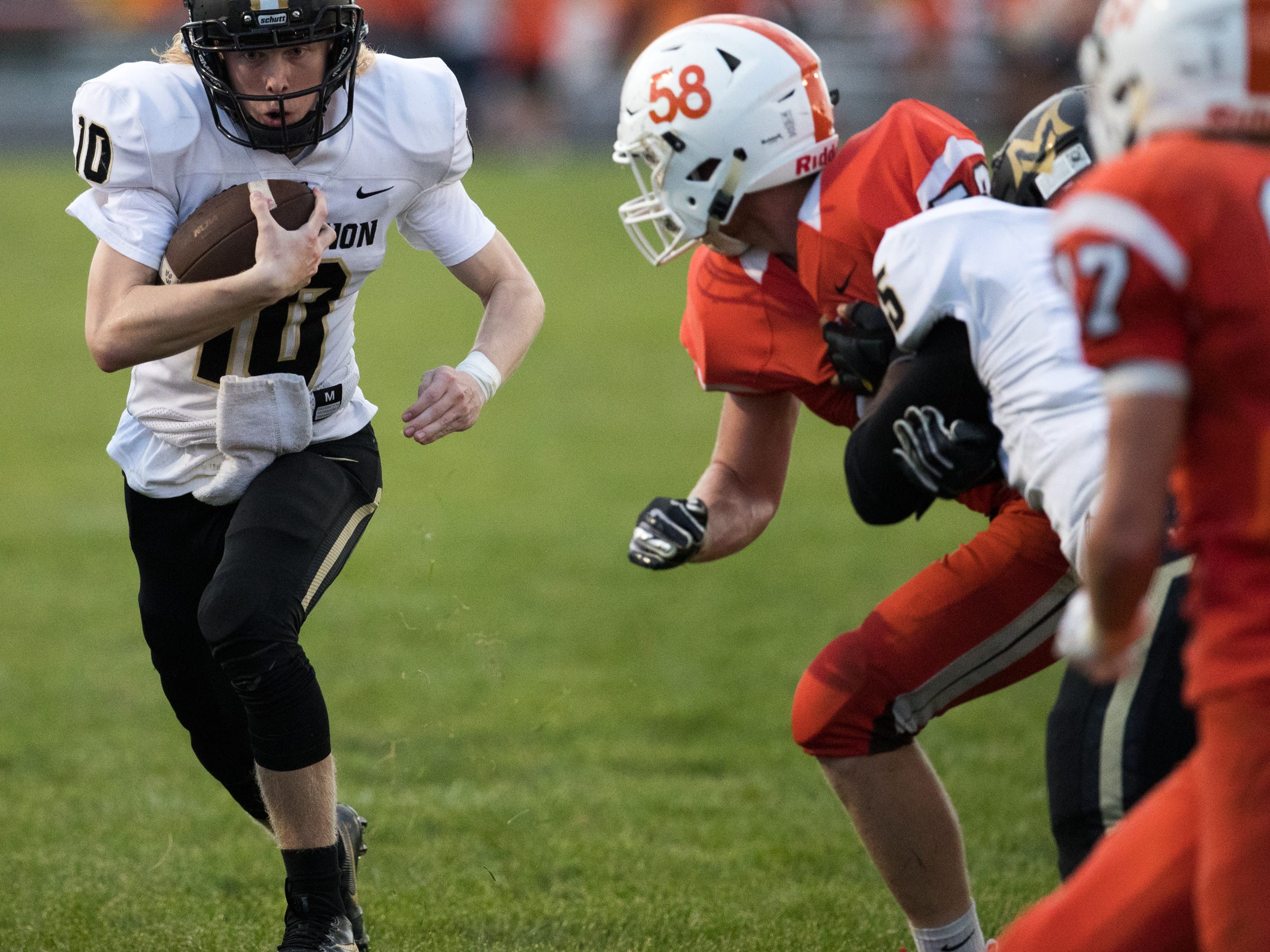 Austin Finke of Mount Vernon High School runs during action at Hamilton Heights High School football, won by MVHS, 43-14, Arcadia, Friday, Aug. 17, 2018. This game is the first for HHHS head coach Jon Kirschner, who faced his father Mike Kirschner, a veteran and champion coach in his first season at MVHS.