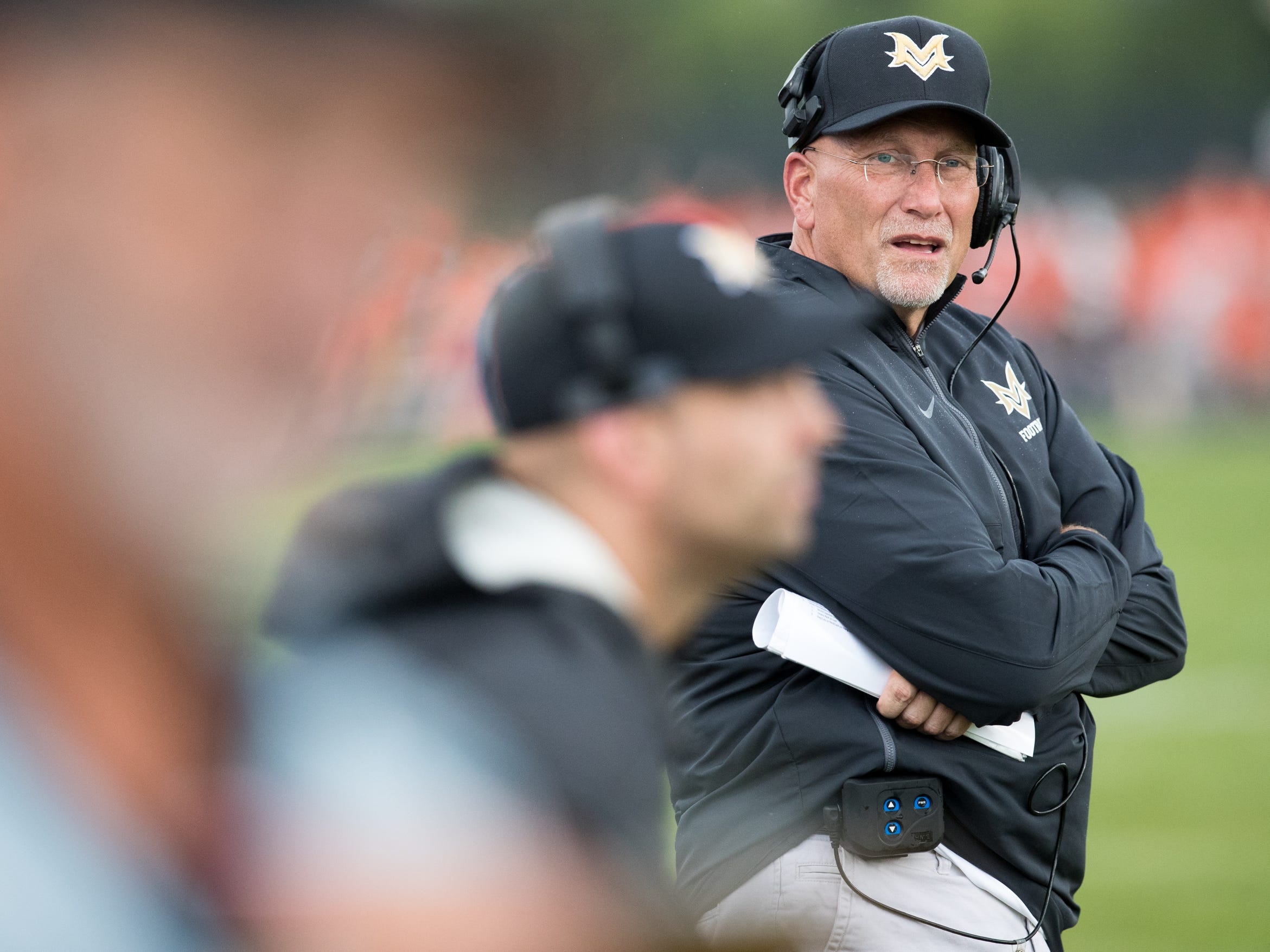 Mike Kirschner, head coach for Mount Vernon High School at Hamilton Heights High School football, won by MVHS, 43-14, Arcadia, Friday, Aug. 17, 2018. This game is the first for HHHS head coach Jon Kirschner, who faced his father Mike Kirschner, a veteran and champion coach in his first season at MVHS.