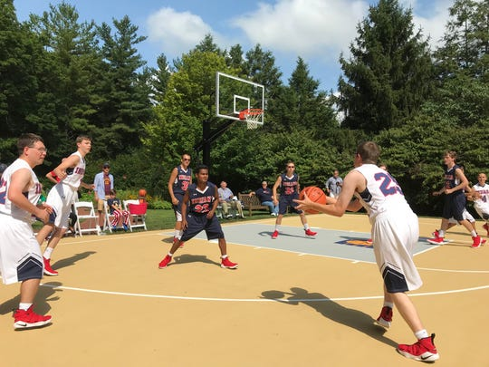 Team Indiana, the basketball team from DeKalb County that won the gold medal at the Special Olympics USA Games, were the first to play on the governor's new basketball court Saturday, Aug. 18, 2018.