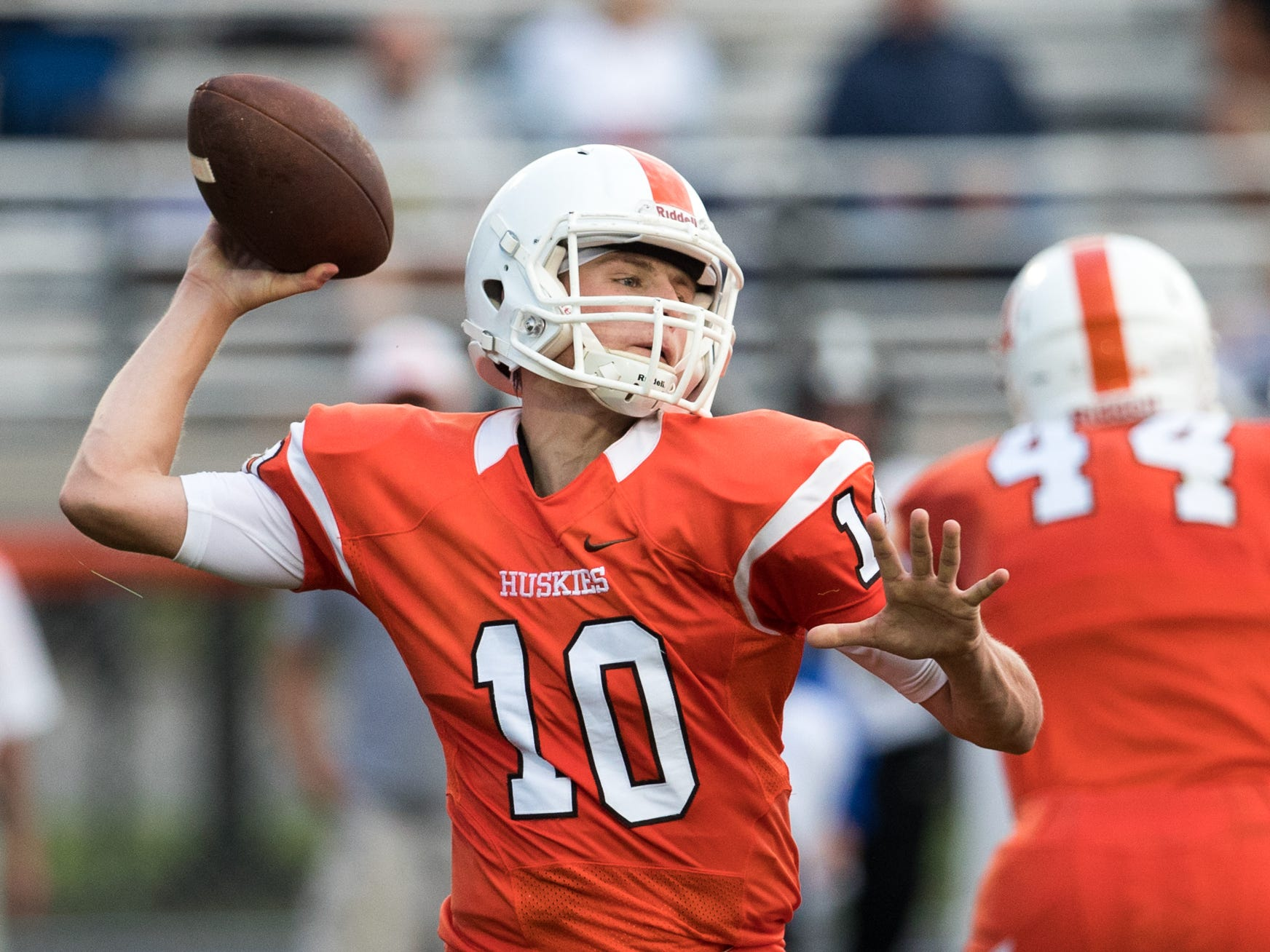 Carter Campassi, quarterback for Hamilton Heights, passes during first half action, Mount Vernon High School at Hamilton Heights High School football, won by MVHS, 43-14, Arcadia, Friday, Aug. 17, 2018. This game is the first for HHHS head coach Jon Kirschner, who faced his father Mike Kirschner, a veteran and champion coach in his first season at MVHS.