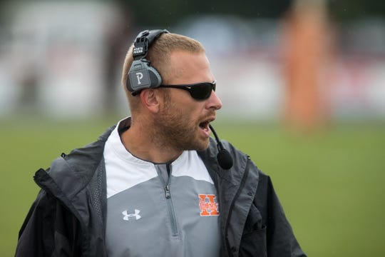 Jon Kirschner, head coach of Hamilton Heights High School, during game action against Mount Vernon High School, won by MVHS, 43-14, Arcadia, Friday, Aug. 17, 2018. This game is the first for HHHS head coach Jon Kirschner, who faced his father Mike Kirschner, a veteran and champion coach in his first season at MVHS.