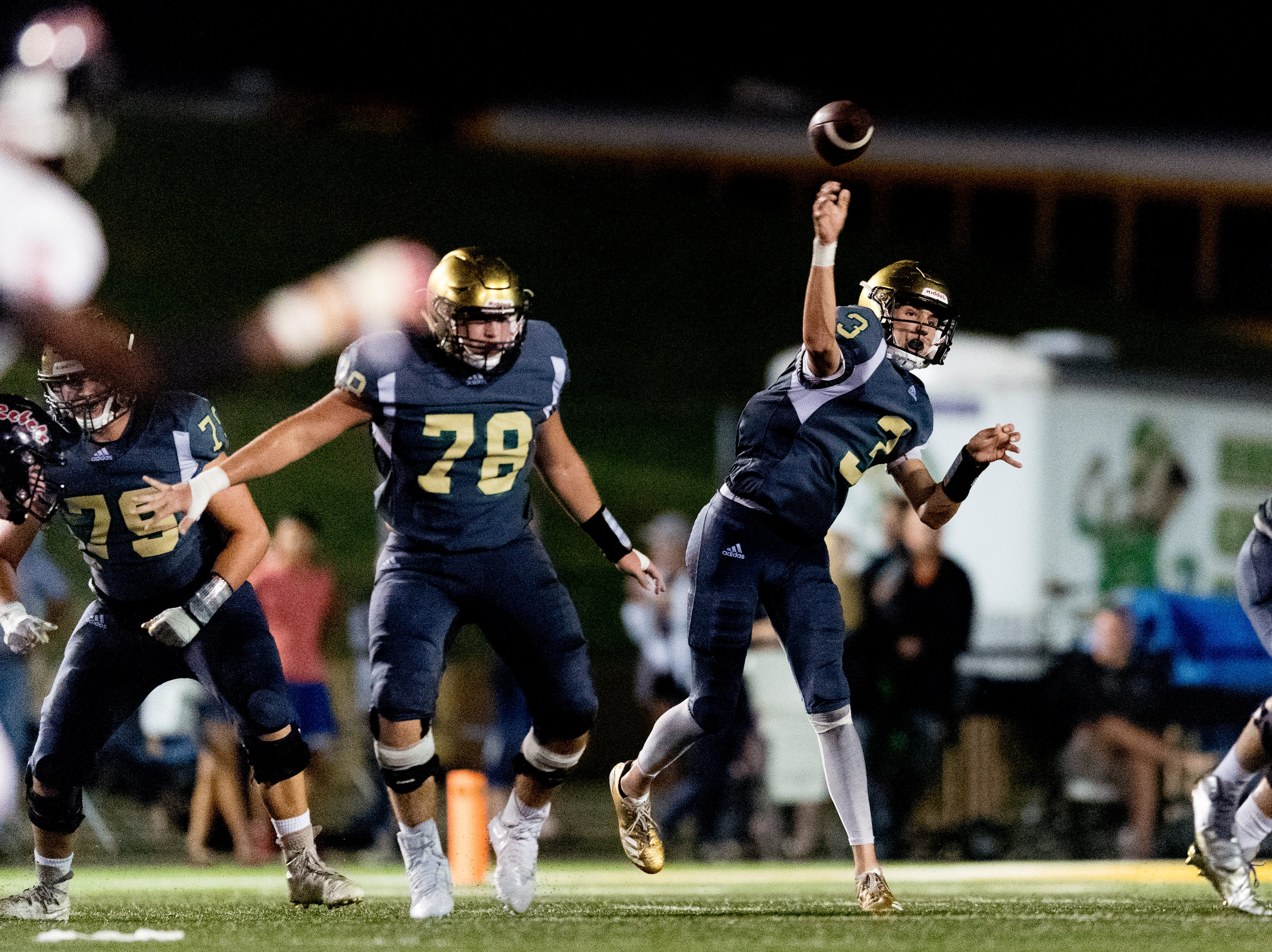 Catholic's Jack Jancek (3) throws the ball during a football game between Maryville and Catholic at Catholic High School in Knoxville, Tennessee on Friday, August 17, 2018.