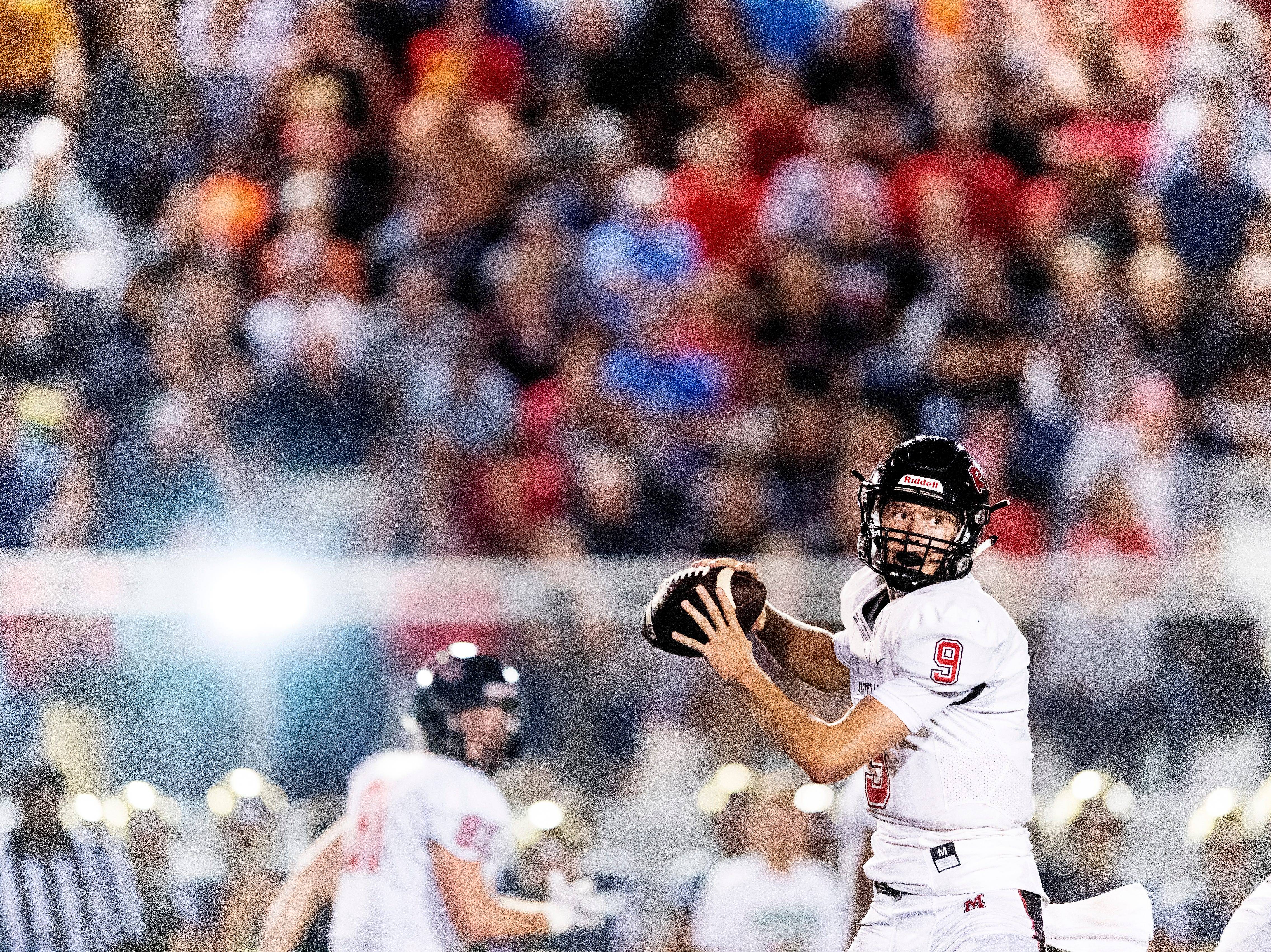 Maryville's Cade Chambers (9) lines up a pass during a football game between Maryville and Catholic at Catholic High School in Knoxville, Tennessee on Friday, August 17, 2018.