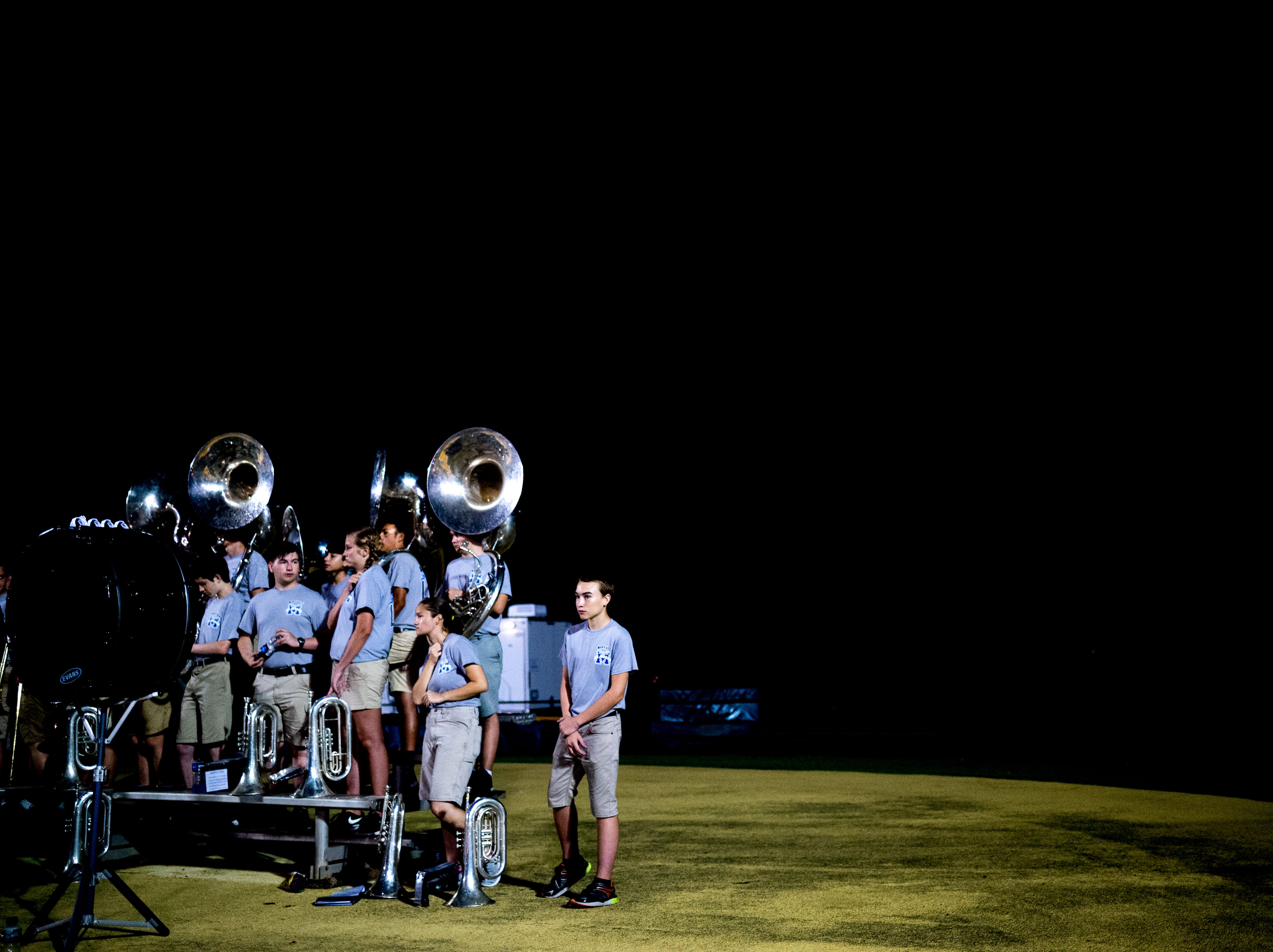 The Catholic band stands in the end zone during a football game between Maryville and Catholic at Catholic High School in Knoxville, Tennessee on Friday, August 17, 2018.