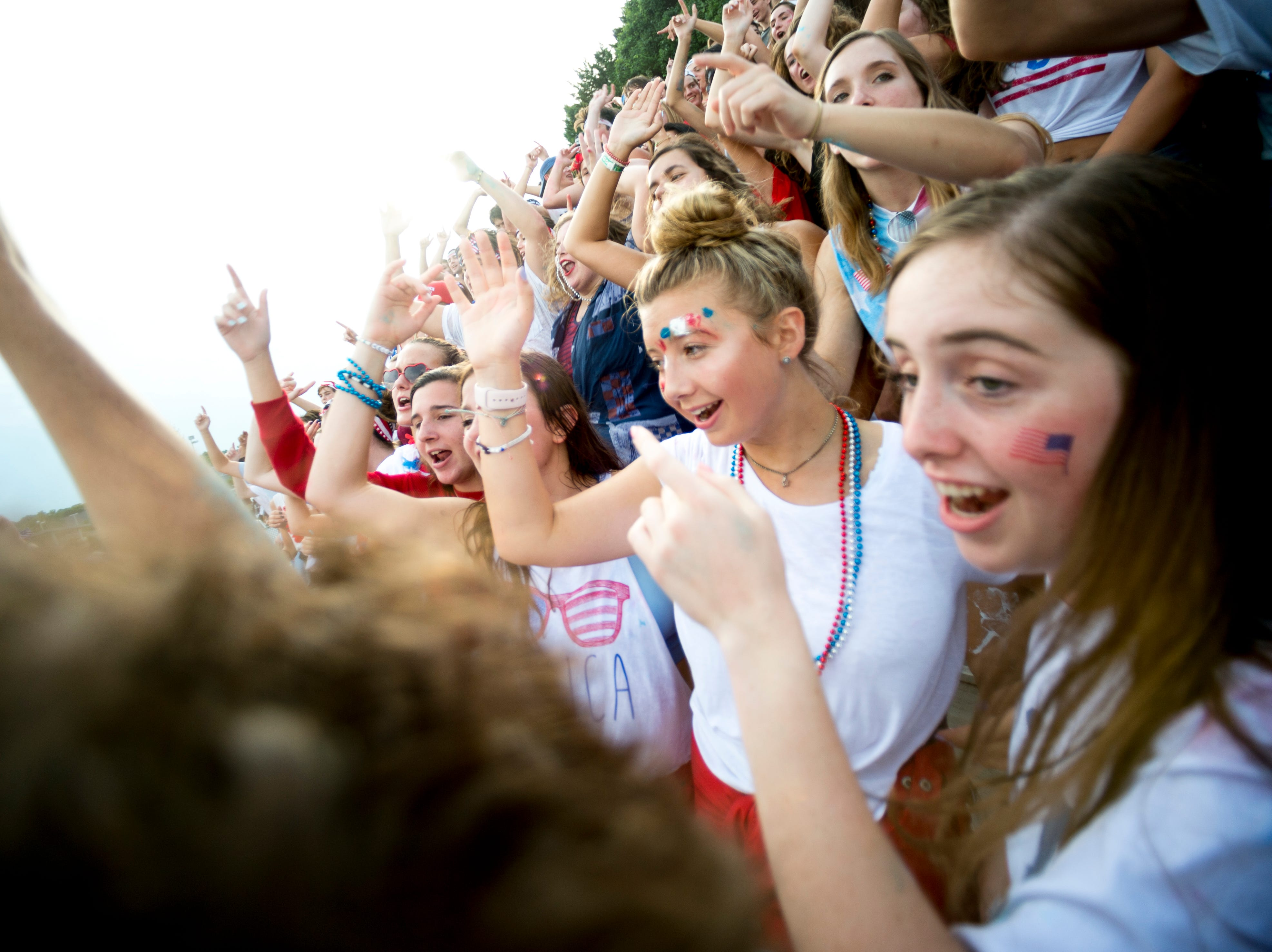 The Catholic student section cheers during a football game between Maryville and Catholic at Catholic High School in Knoxville, Tennessee on Friday, August 17, 2018.