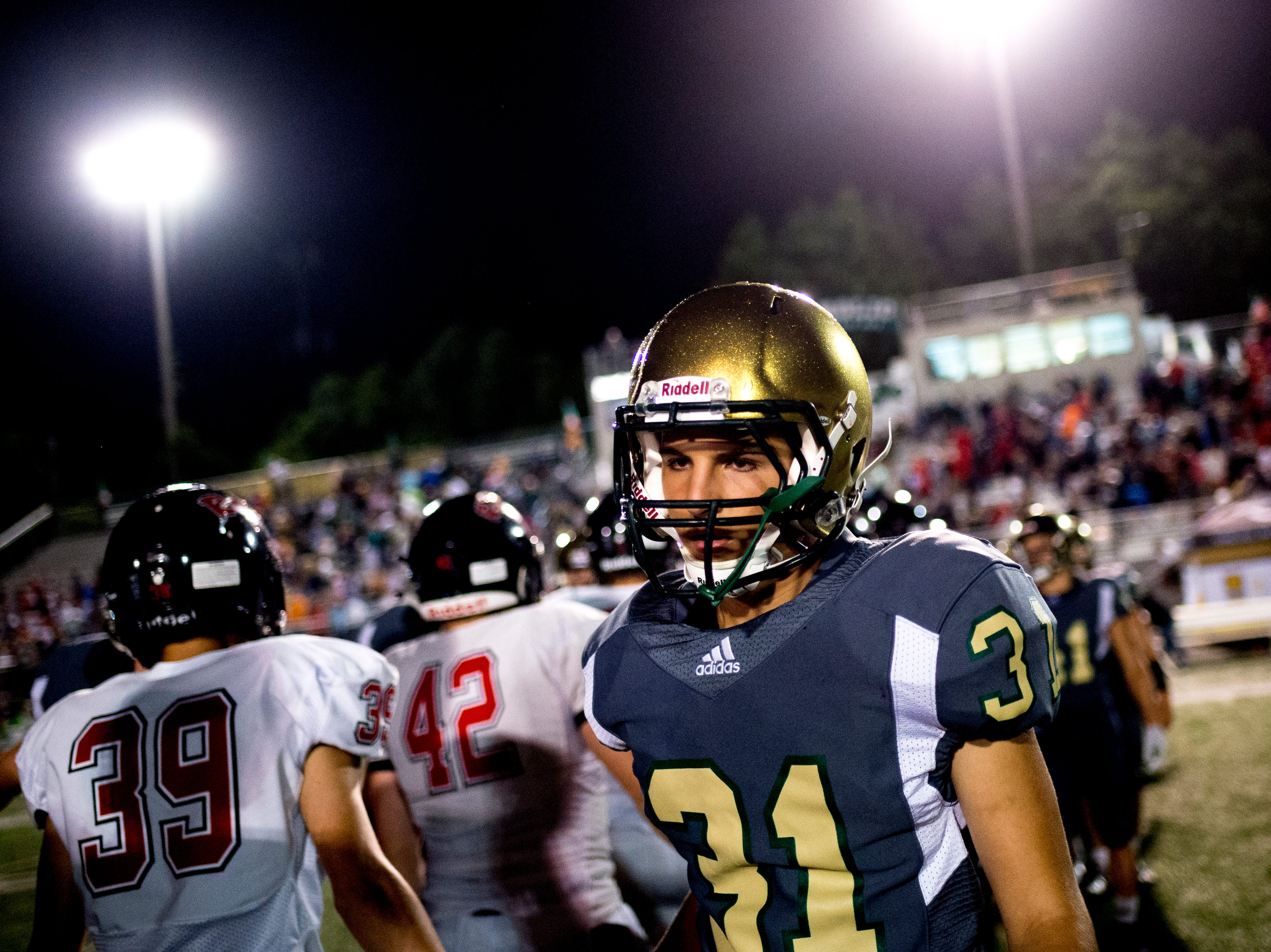 Catholic's Joseph Iverson (31) after losing to Maryville during a football game between Maryville and Catholic at Catholic High School in Knoxville, Tennessee on Friday, August 17, 2018.