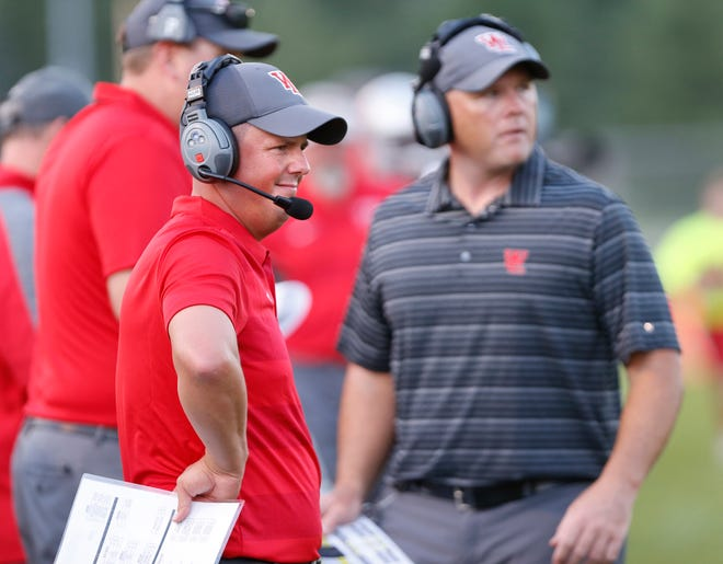 West Lafayette head coach Shane Fry watches as the Red Devils defend against Lafayette Jeff Friday, August 17, 2018, at Gordon Straley Field in West Lafayette. West Lafayette defeated Jeff 38-29.