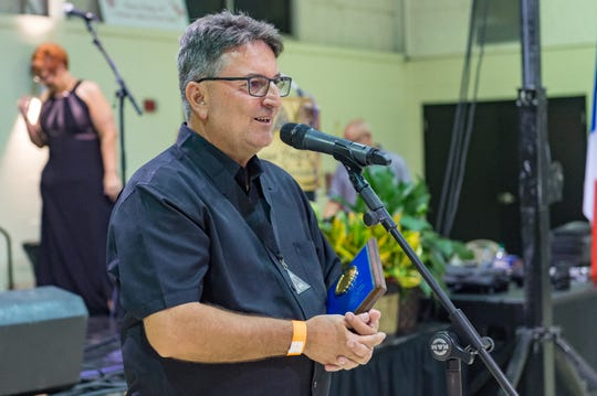 Tim Broussard is inducted into the Hall of Fame at the Cajun French Music Association hosts the 30th annual awards ceremony. Friday, Aug. 17, 2018.