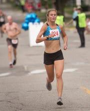 Kayla Wiitala of Howell was the women's winner in the Howell Melon Run 5K in 19:34 on Friday, Aug. 17, 2018.