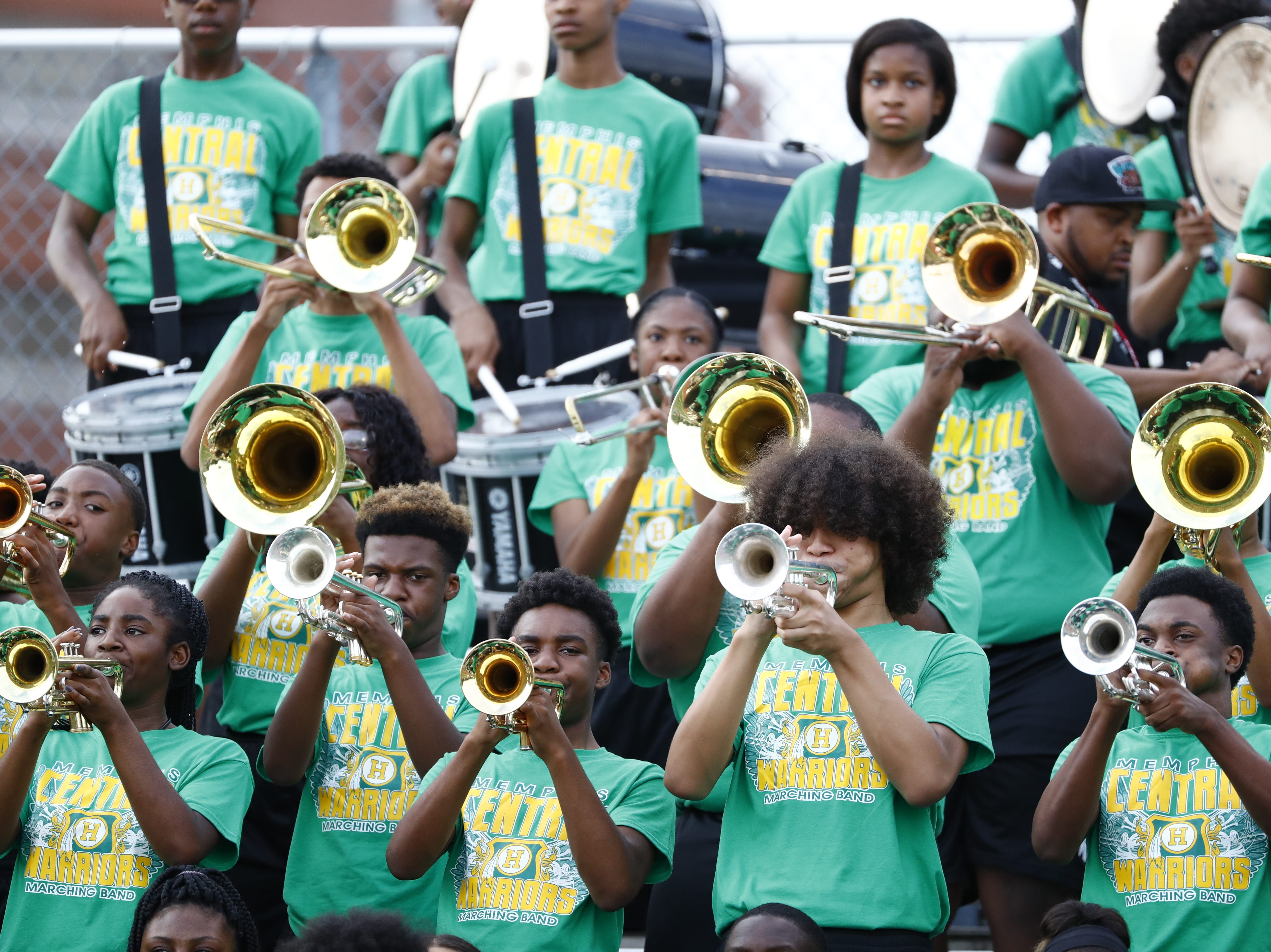 The Central band warms up prior to Friday's season opener against Melrose on Aug. 17, 2018.