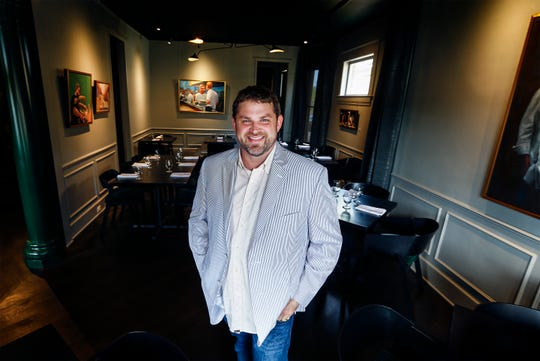 Kelly English, owner/chef of Restaurant Iris, in the dining room of his popular midtown Memphis restaurant.