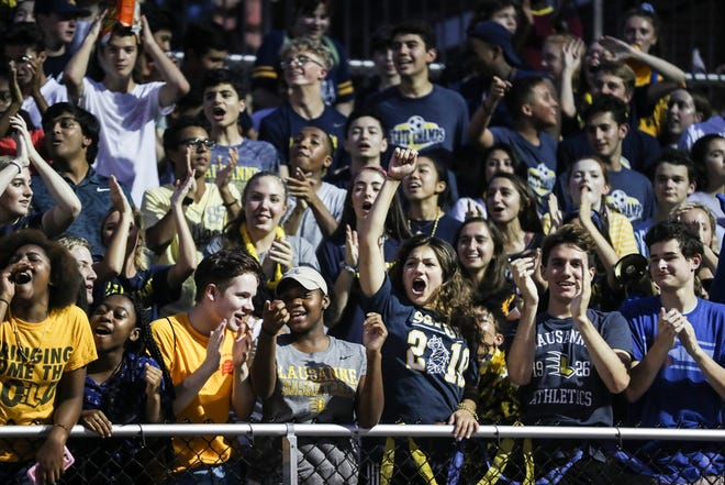 August 14, 2018 - Lausanne fans cheer during Friday's season-opening game at Lausanne versus Rosa Fort (Mississippi) on Aug. 17, 2018.