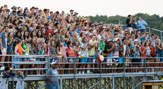 Kettle Moraine students cheer on their team during the game at Waukesha West on Friday, August 17, 2018.