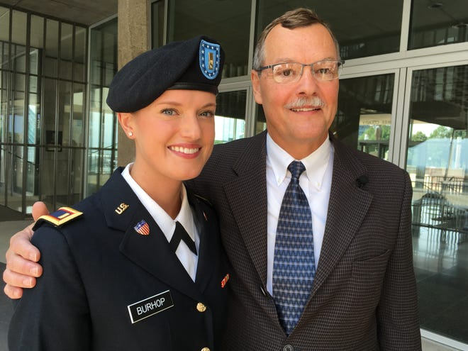 U.S. Army 2nd Lt. Rebecca Burhop and her father, James Burhop, who was commissioned into the Army as a Lt. Colonel on Saturday