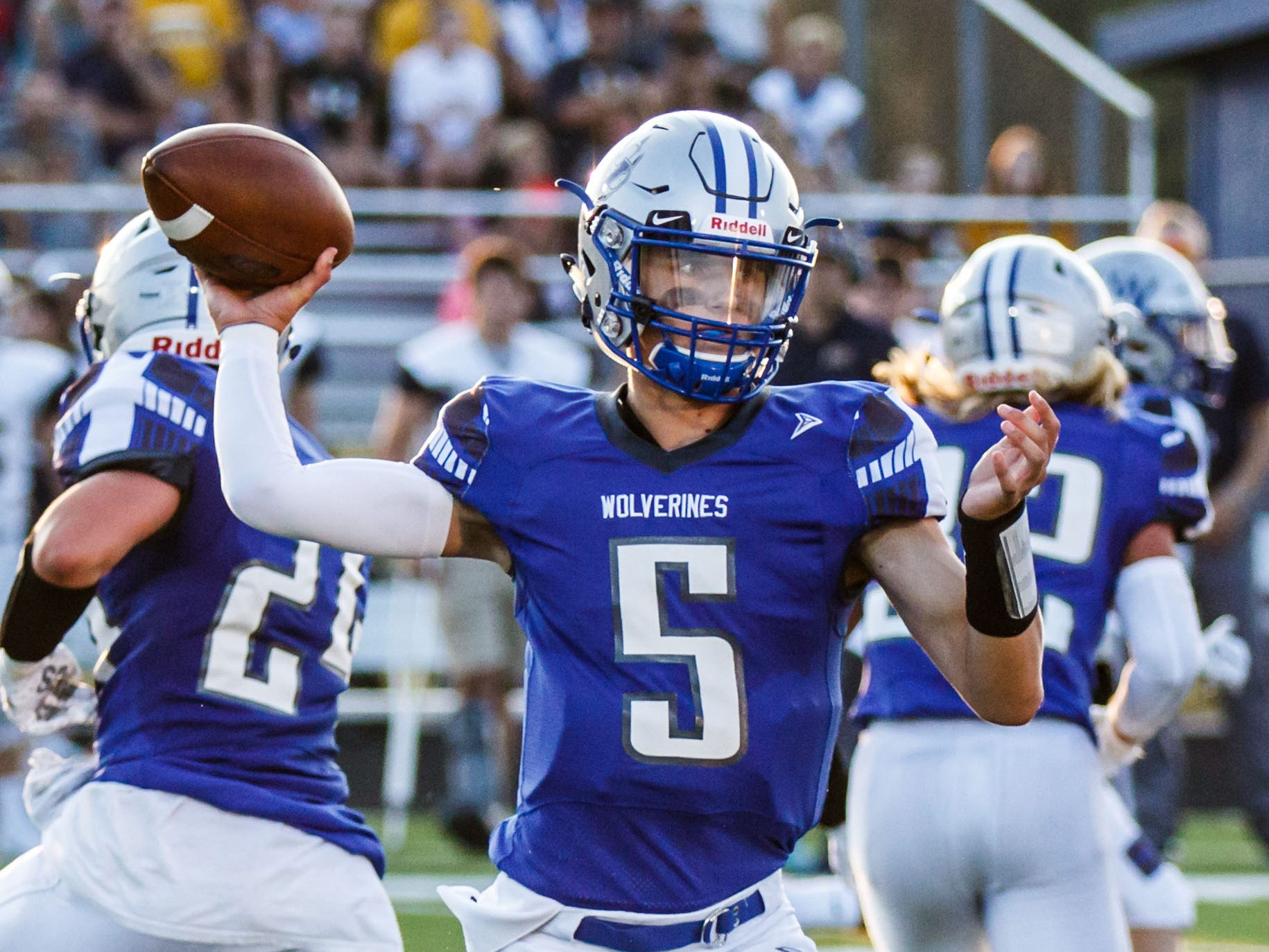 Waukesha West quarterback Brooks Blount gets ready to unleash a pass during the Wolverines' game at home against Kettle Moraine on Friday, August 17, 2018.