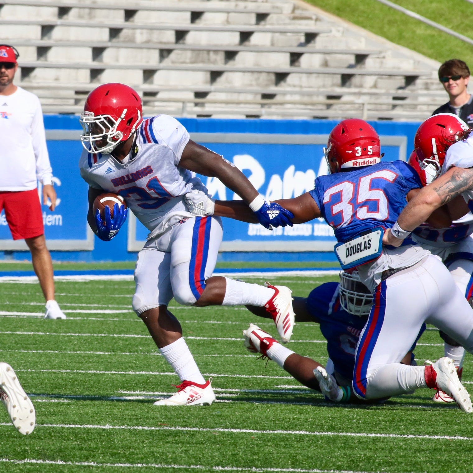 Run game shows flashes despite hobbled O-line in LA Tech's 2nd scrimmage