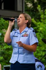 Vocalist Staff Sergeant Melissa Lackore of Rhythm in Blue at the 2018 Morristown Jazz & Blues Festival on the Green in Morristwon, August 18, 2018.  Photo by Warren Westura for the Daily Record.