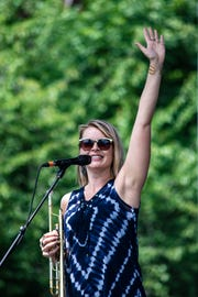 Trumpet player Bria Skonberg at the 2018 Morristown Jazz & Blues Festival on the Green in Morristwon, August 18, 2018.  Photo by Warren Westura for the Daily Record.