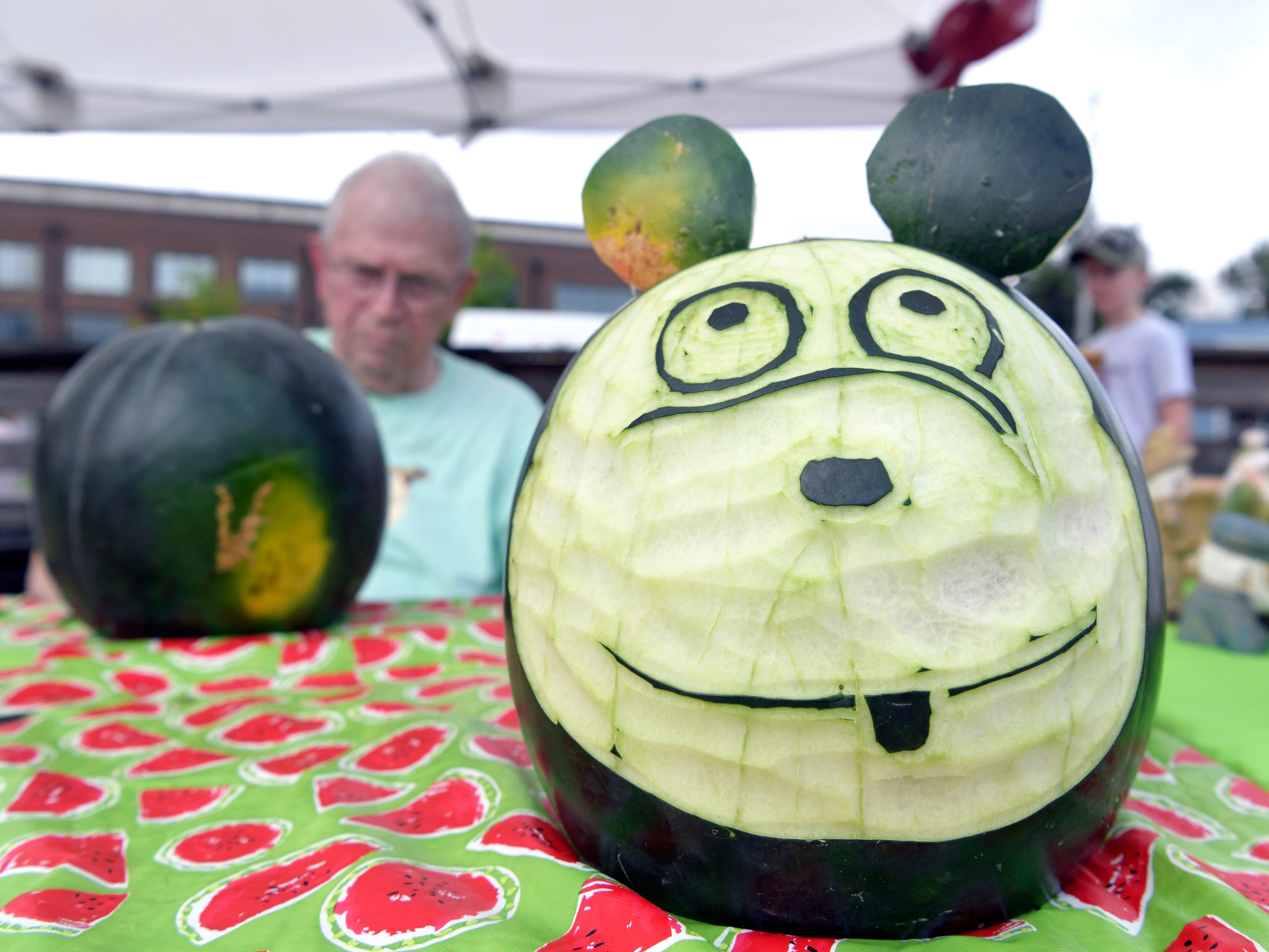 Leipers Fork Carving Club held watermelon carving demonstrations at the Franklin Watermelon Festival's  at the Franklin Farmers Market in Franklin, Tenn. on Saturday,  August 18, 2018.