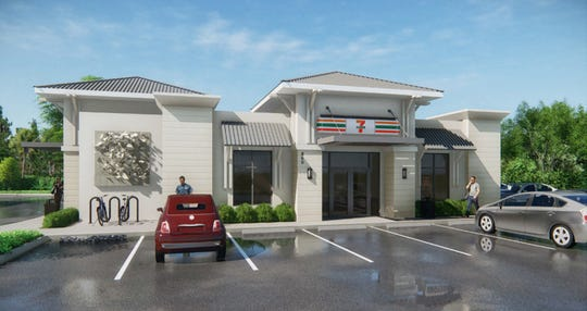 A rendering of the 7-Eleven store getting a substantial façade renovation and gas pumps as it is combined with the adjoining former Speedway station at Seventh Avenue North and U.S. 41 in Naples.