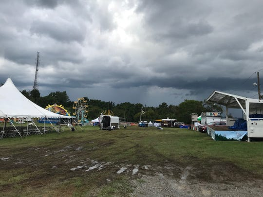Mud played a role in the canceling ofPassaic County Fair on Saturday, but county officials said crews would be working Saturday night dumping stone and getting the grounds in shape for Sunday.