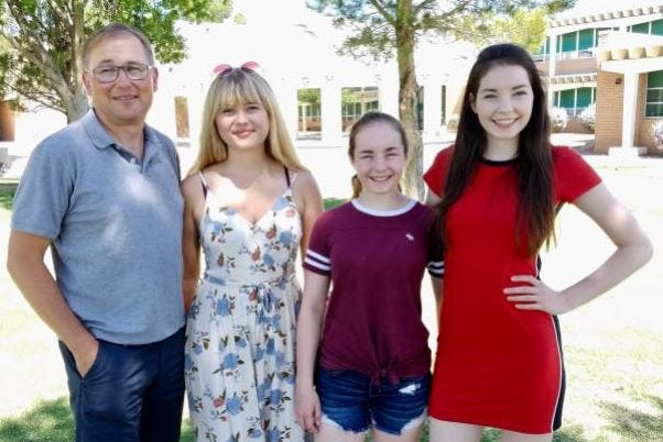 Past, present and future German American Partnership Program exchange students: From left, Knut Brüggemann, his daughter Merle, and sisters Sophia and Marina Moore.