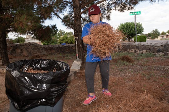 Natoria Martinez, 9, dumps a load of pine tree needles as she cleans her 39th yard for the Raising Men Lawn Care Foundation on August 18, 2018.