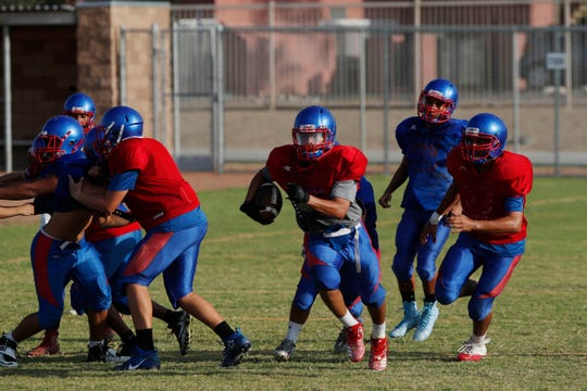 Indio High School practices ahead of their 2018 football season.