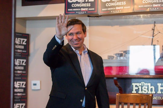 Republican Rep. Ron DeSantis waves to supporters during the Freedom Tour, which also featured Republican Reps. Matt Gaetz and Jim Jordan, at the Fish House on Saturday, August 18, 2018. Gaetz is running for re-election in Florida's 1st congressional district, which includes the panhandle. DeSantis, a gubernatorial candidate, currently represents Florida's 6th congressional district, which includes Palm Coast and Daytona Beach on the east coast. Jordan founded the Freedom Caucus and represents Ohio's 4th congressional district. He also is a candidate for Speaker of the U.S. House of Representatives.