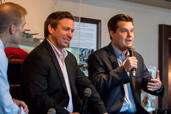 Republican Rep. Matt Gaetz, right, speaks during the Freedom Tour, which also featured Republican Reps. Ron DeSantis, center, and Jim Jordan, left, at the Fish House on Saturday, August 18, 2018. Gaetz is running for re-election in Florida's 1st congressional district, which includes the panhandle. DeSantis, a gubernatorial candidate, currently represents Florida's 6th congressional district, which includes Palm Coast and Daytona Beach on the east coast. Jordan founded the Freedom Caucus and represents Ohio's 4th congressional district. He also is a candidate for Speaker of the U.S. House of Representatives.